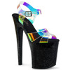 Stripper Shoes XTREME-820MMR, Multi-Color Hologram Strap Platform Sandal
