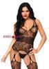 Leg Avenue | LA89215, Strappy Rose Lace Bodystocking