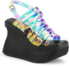 Demonia | Pace-33,Women's Wedge Strappy Platform Sandal color Multi Magic Mirror