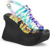 Demonia | Pace-33,Women's Wedge Strappy Platform Sandal color Multi Magic Mirror