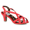BP250-Gracie, Red Peep Toe Sling Back Sandal by Bettie Page Shoes