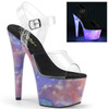 Adore-708REFL, Platform Sandal with Reflective Galaxy by Pleaser Shoes