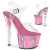 Sky-308OF, Baby Pink Ankle Strap Sandal with Opal Ornaments on Platform by Pleaser