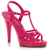 FLAIR-420, Black Pat T-Strap Platform Sandal hot pink