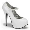 white TEEZE-07, 5.75 Inch Stiletto High Heel with 1.75 Inch Mary Jane Platform Pump