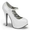 white TEEZE-07, 5.75 Inch Stiletto High Heel with 1.75 Inch Mary Jane Platform Pump