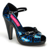 Cheetah-06G Blue Bordello Shoes