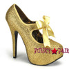 Gold Platform Rhinestone Shoes
