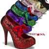 Bordello Teeze-10G, 5.75 Inch High Heel with 1.75 Inch Glitter Platform Pump