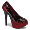 Bordello | Teeze-27, Platform Pump with Rhinestone Flame color black/red