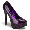 Bordello | Teeze-37, Cheetah Purple Glitter Print Pump