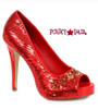 "Ellie Shoes | 415-Flamingo 4"" Sequins Pump red"