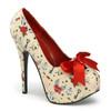 Pin-Up Couture |  Teeze-12-3, Print Platform Pump with Satin Bow