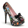 Pin-Up Couture | Teeze-12-4, Platform Shoes with Satin Bow