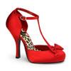 Pin-Up Couture   Cutiepie-12, Platform T-Strap D'Orsay Pump color red