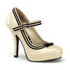 Cream Secret-15, Platform Mary Jane with Contrast Trim | Pin-Up Couture
