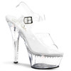 Pleaser Shoes | Kiss-208LS, Platform Clear Ankle Strap with a line rhinestones
