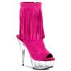 Fuchsia  Open Toe Fringe Boot | Pleaser Delight-1019
