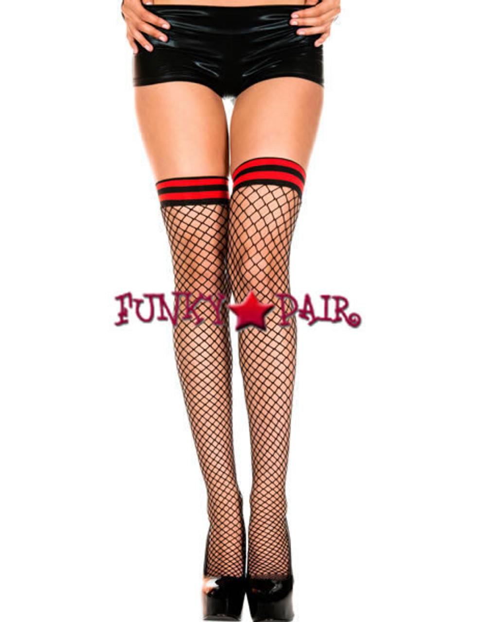 New Music Legs 4844 Double Backseam Fishnet Thigh High Stockings