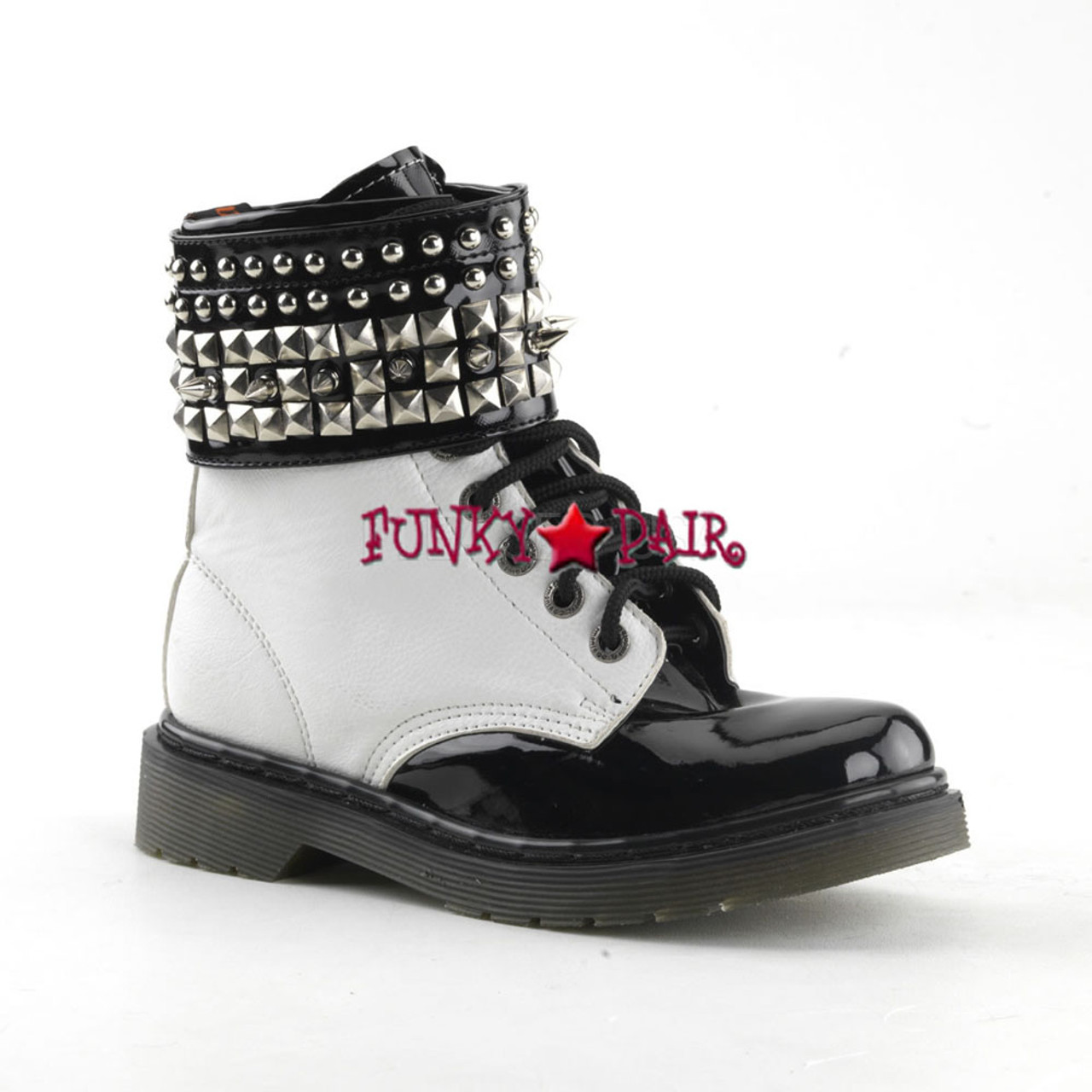 many fashionable newest great quality Demonia | Rival-106 Women's Spike and Studs Ankle Cuff Combat Boots