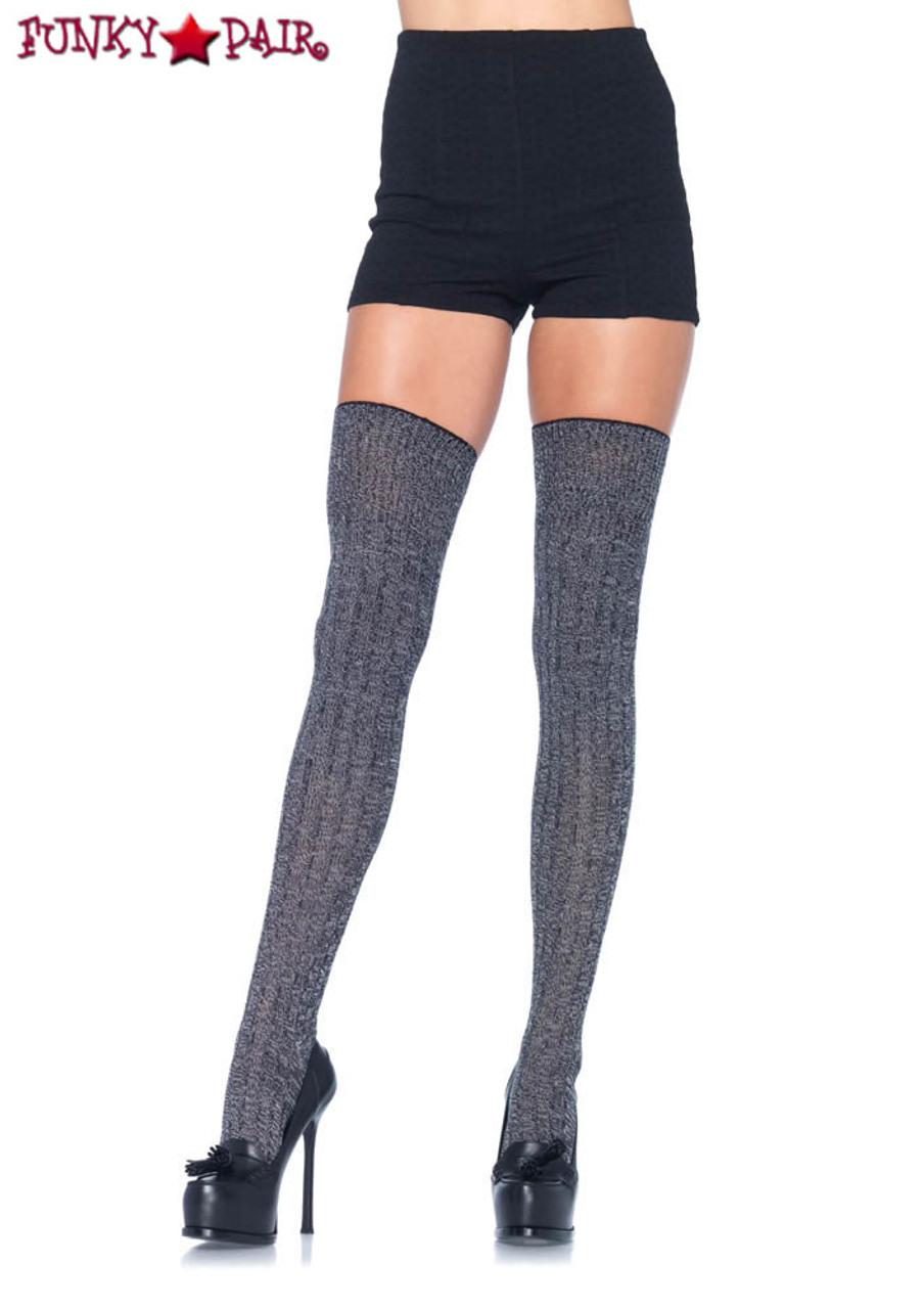 Leg Avenue Over The Knee Thigh High Scrunch Fashion Socks With Satin Bow O//S