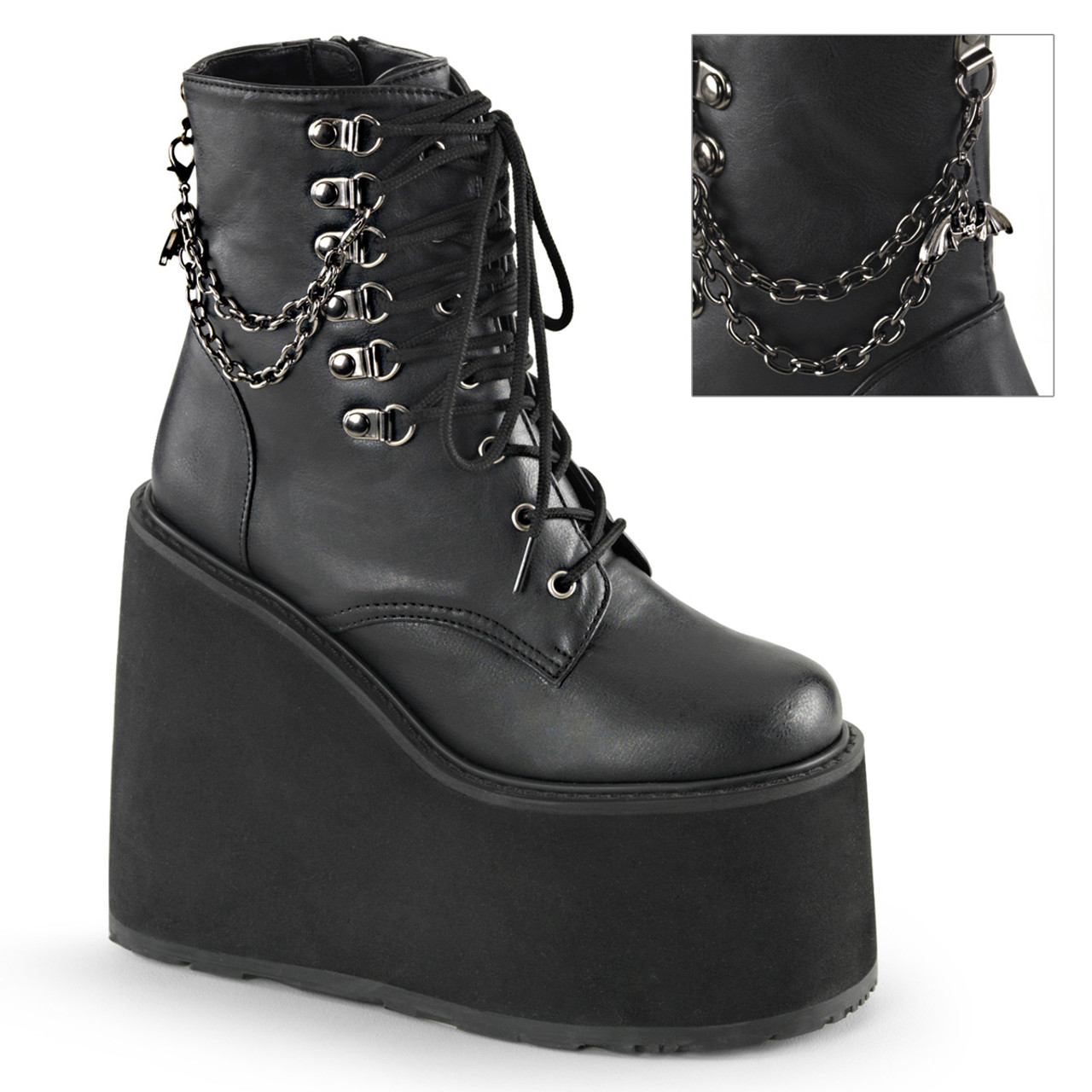 Demonia POISON-101 Women/'s Black Vegan Leather Wedge Platform w// Strap Calf Boot