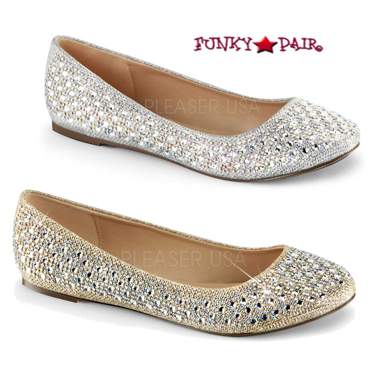 Mila Adult Flats With Bow Black Glitter Womens Shoes