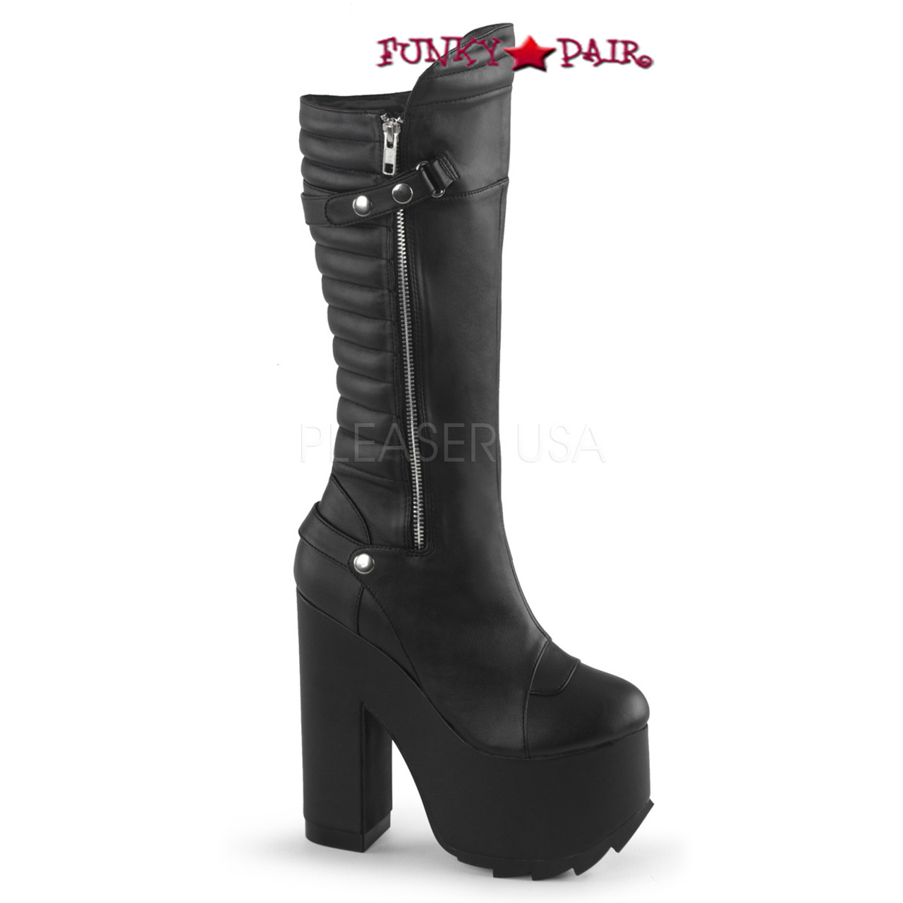 15e50024ad3d Cramps-200, 6.25 Inch Chunky Heel Knee High Boots