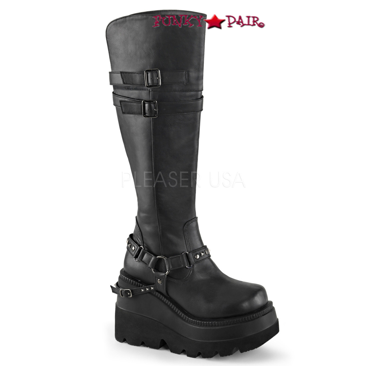 f388401150bec Shaker-101, 4.5 inch platform knee high boots with buckles