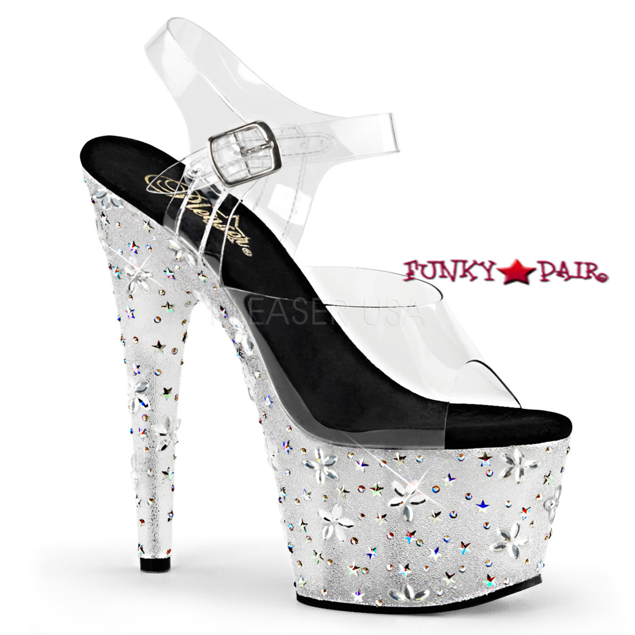 e68747dbbef2 Starbloom-708, 7 inch Ankle Strap Sandal with Stars and Flowers Design