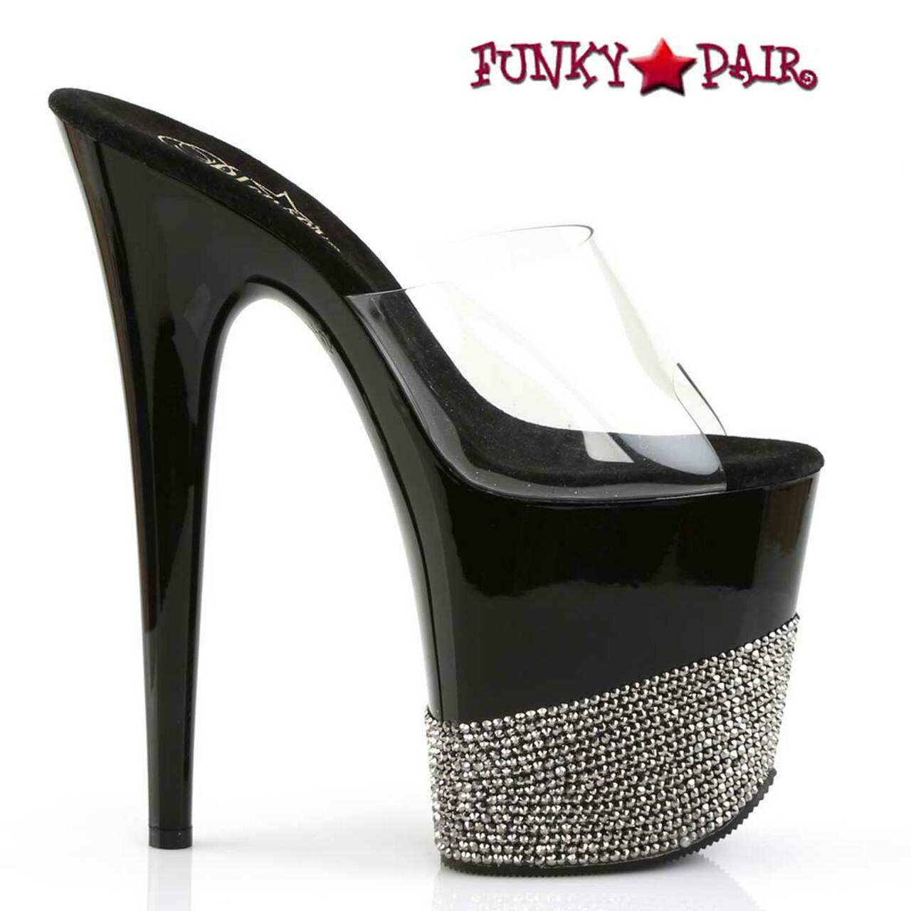 "Pleaser 8/"" slip on rhinestone stripper shoes"