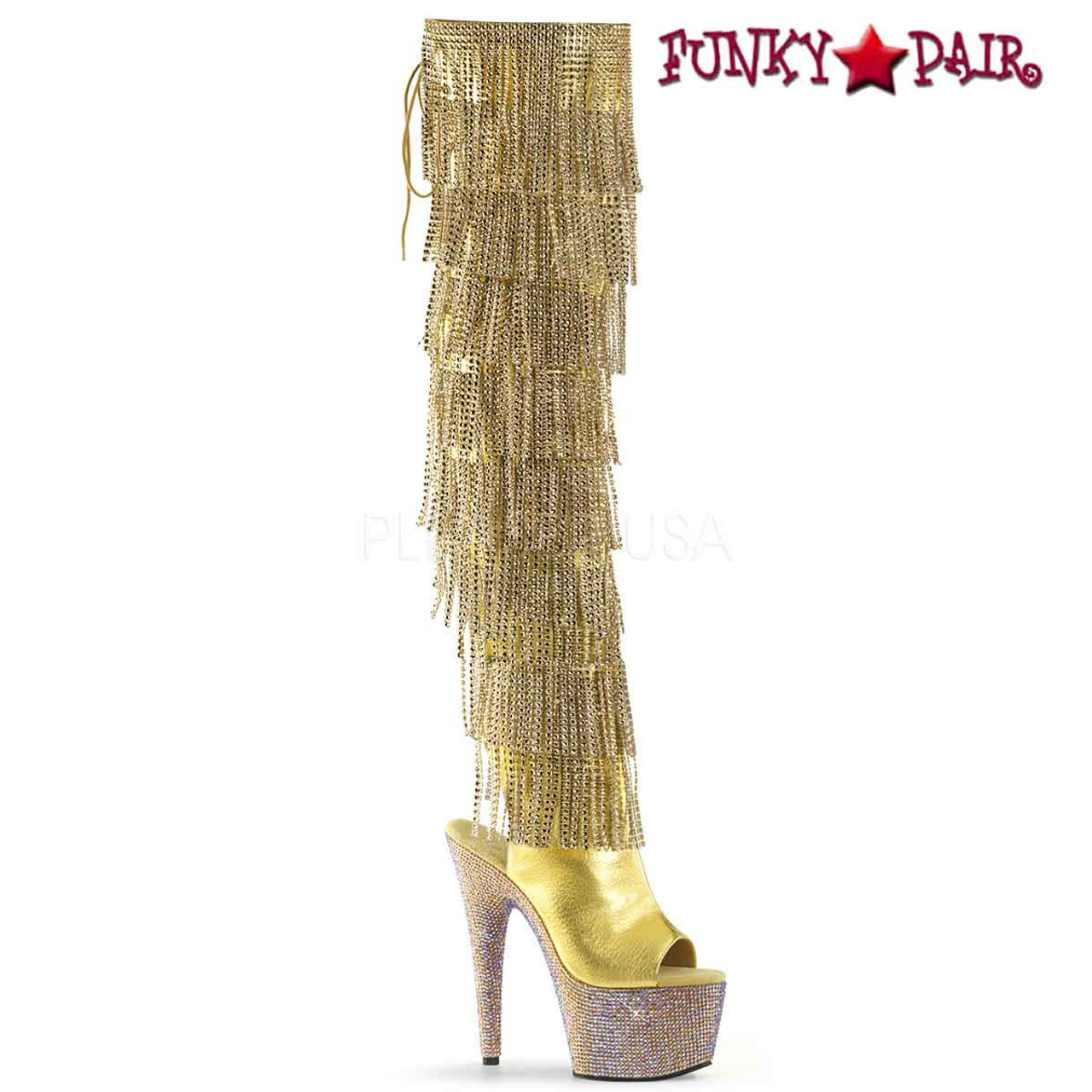 3adfa21df55 Pleaser   Bejeweled-3019RSF-7, Fringe Thigh High Boots