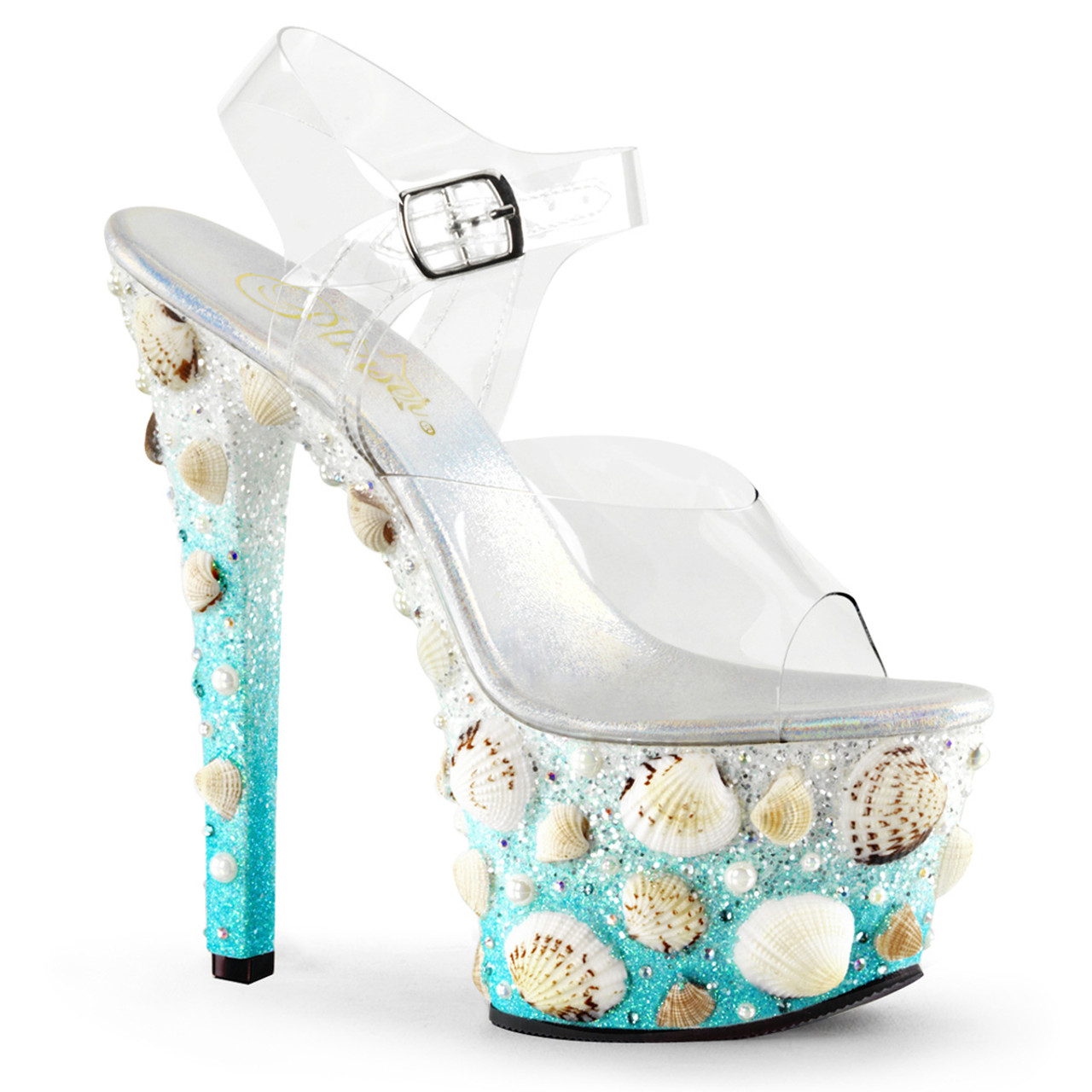 f0fbe6be1bc Pleaser | Sky-308MERMD, Mermaid Platform Sandal