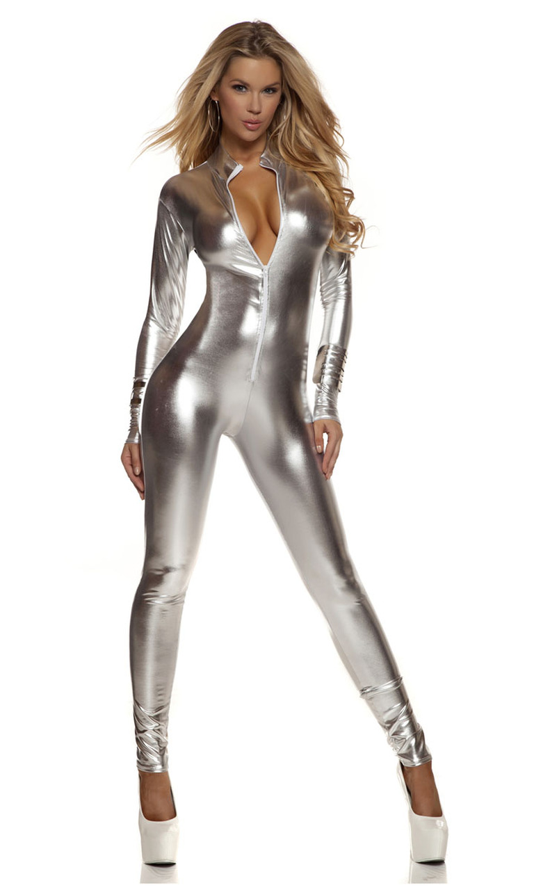 Forplay Metallic Black Mock Neck Jumpsuit for Women