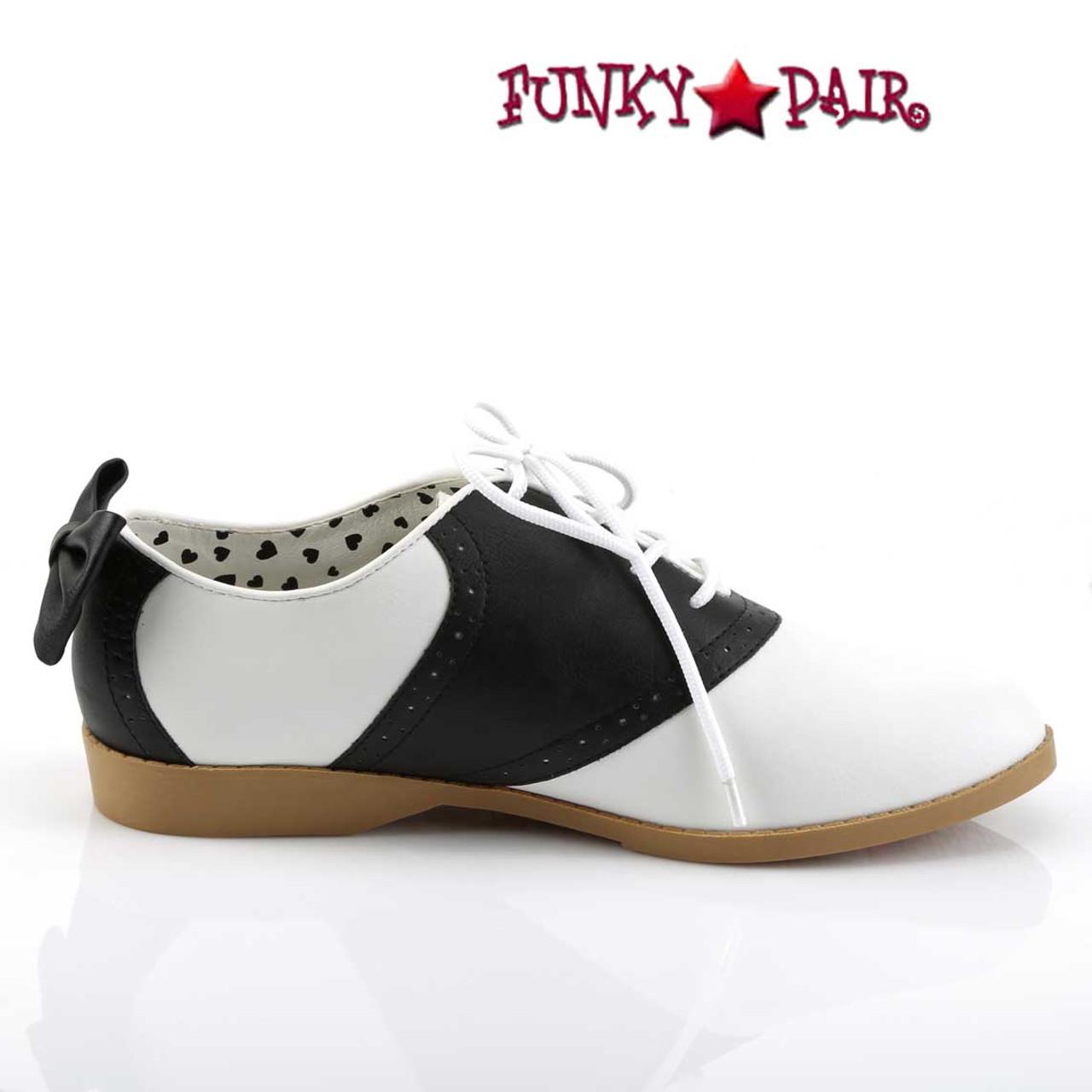 Womens Black /& White Bow Saddle Costume Shoes