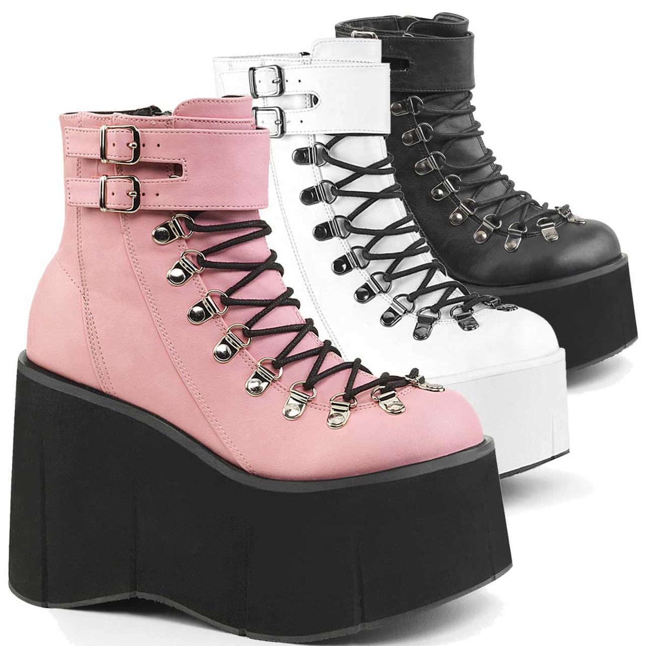 Pleaser Demonia Shaker 52 Black Vegan Leather Lace Up Wedge Platform Ankle Boots