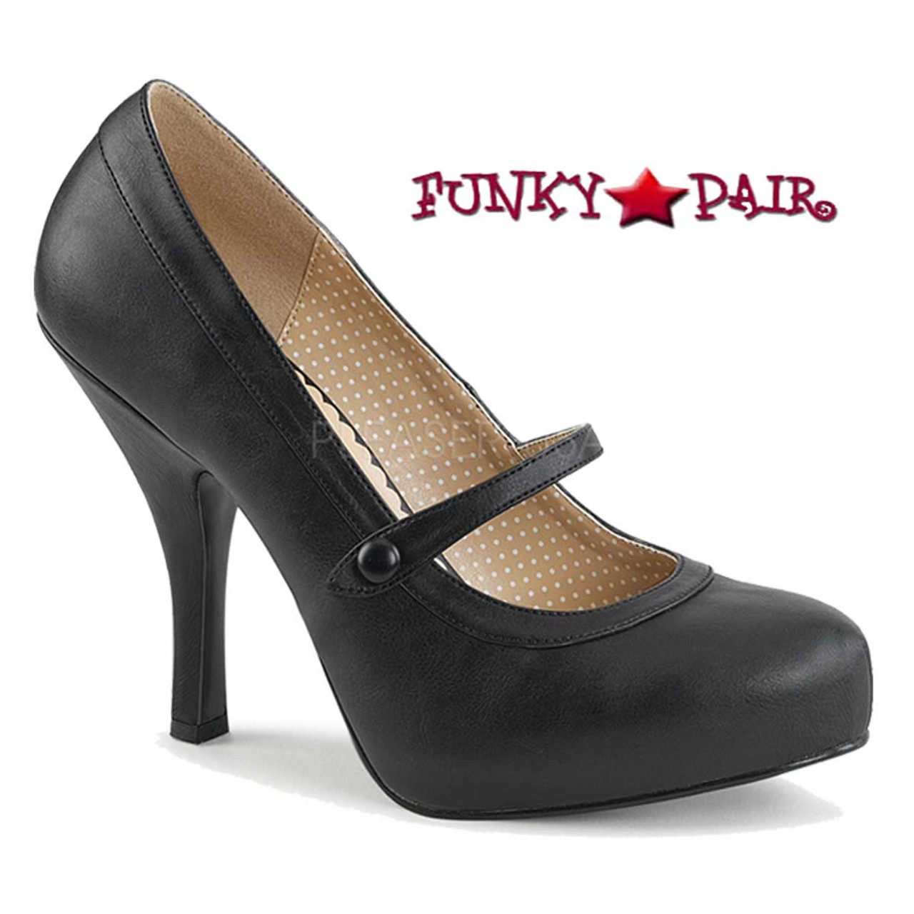 Pin Up Couture Mary Jane Pump Black Contrast Trim Ladies White Hell Shoes