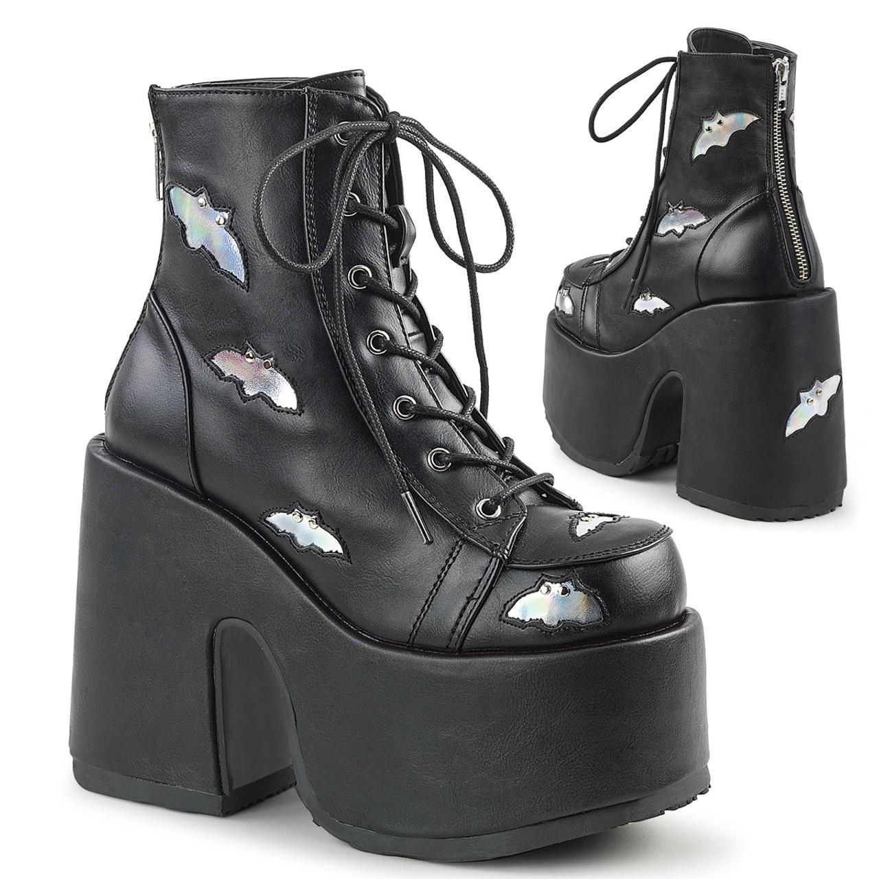 Demonia Womens MUERTO-2028 Knee Boots Black Vegan Leather Punk Goth Platform