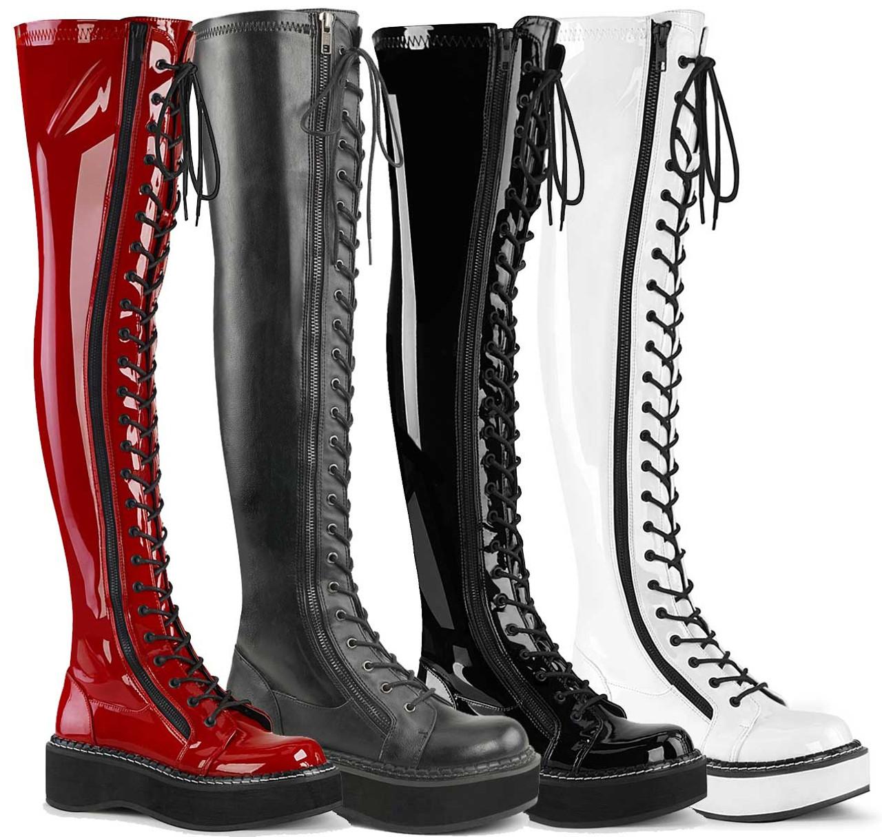 Demonia Emily-375 Platform Boots Womens Black Vegan Leather Thigh High Punk Goth