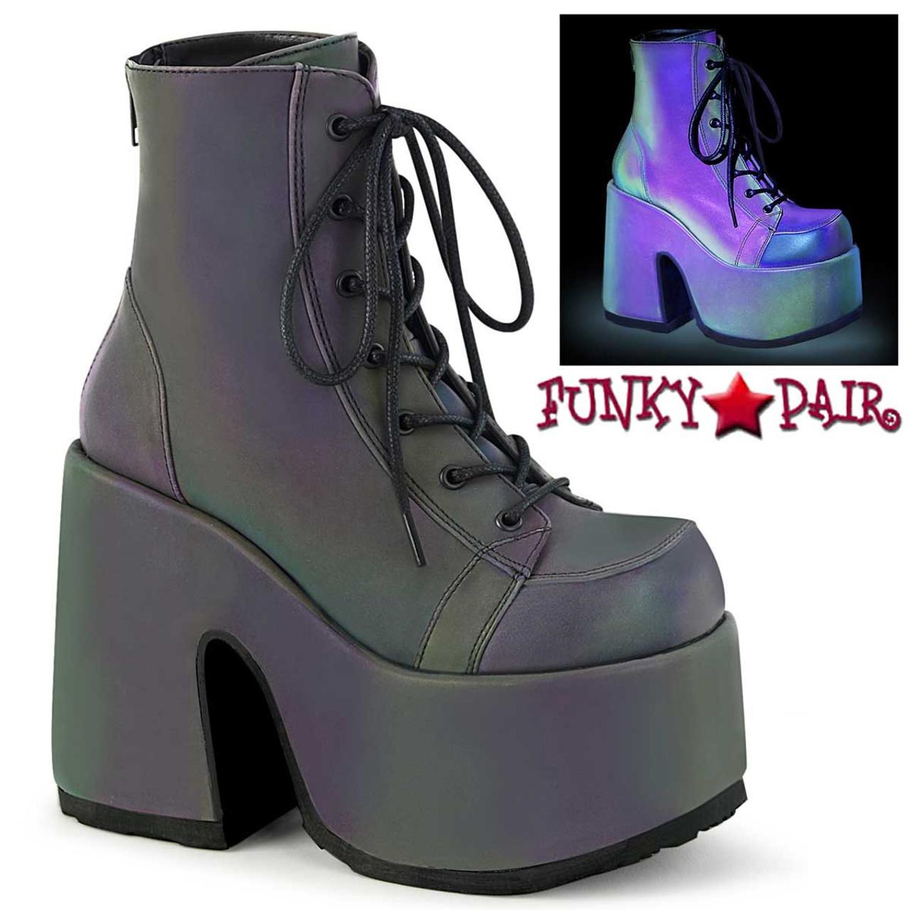 "Demonia CAMEL-203 Purple Hologram 5/"" Ankle Boots Chunky 3/"" Platform Vegan"