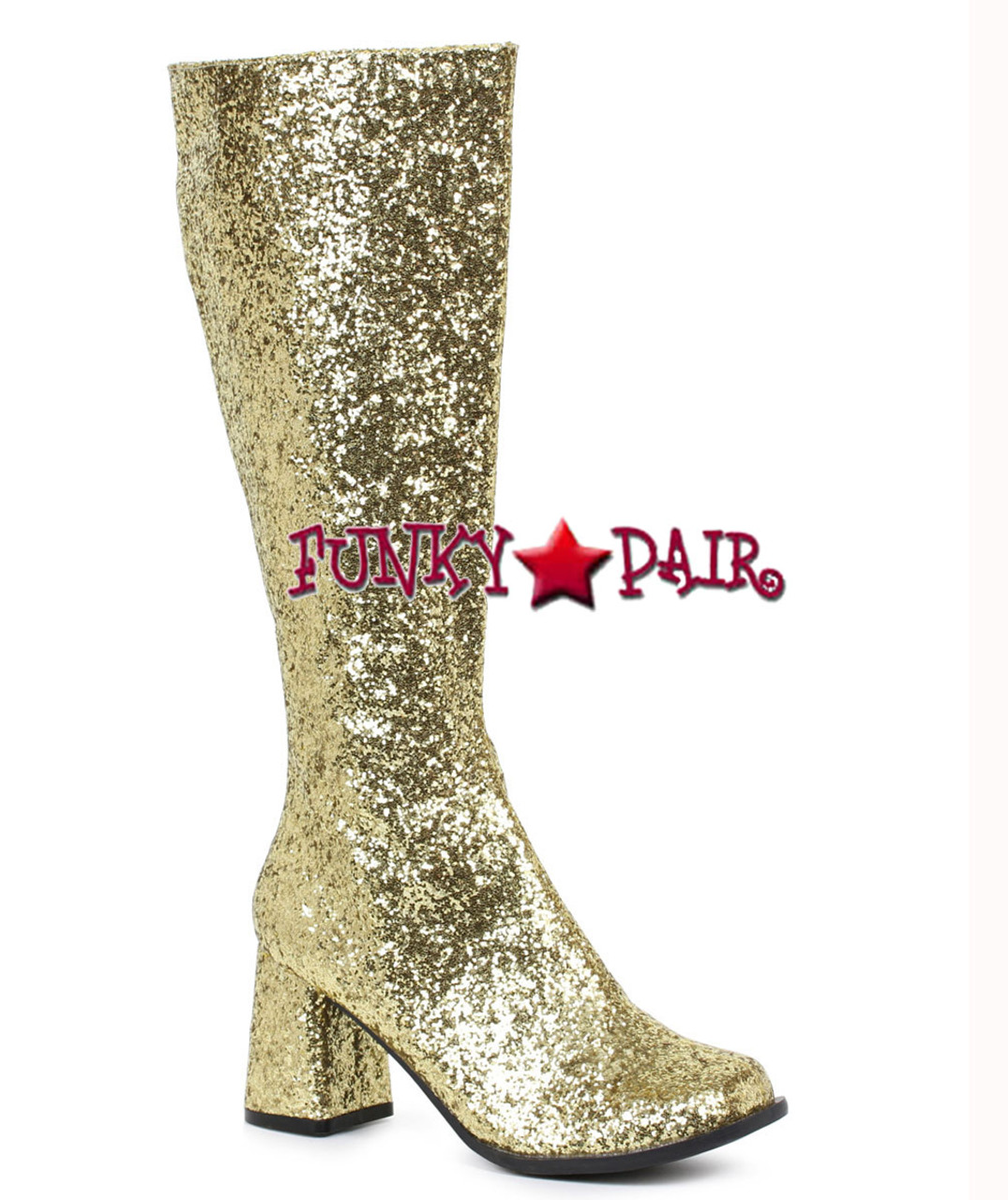 Adult Ladies Disco Boots GoGo Gold Sequin Knee High Shoes 60s 70s  Fancy Dress