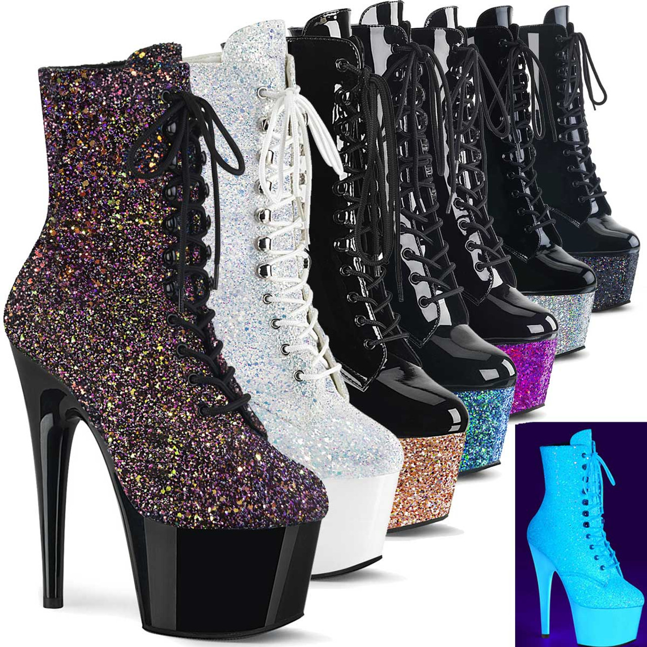 Details about  /Glitter Women Ultra High Block Heels Platform Boots Pu Leather Party Shoes Jin20