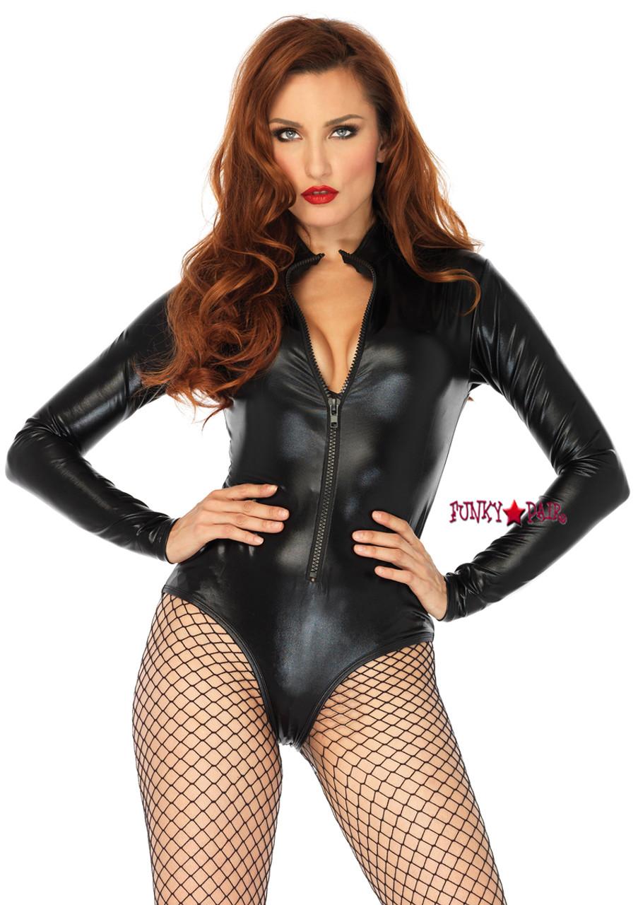 94379d40503cd Leg Avenue | Sexy Wet Look Zipper Front Bodysuit Romper Costume LA-86695