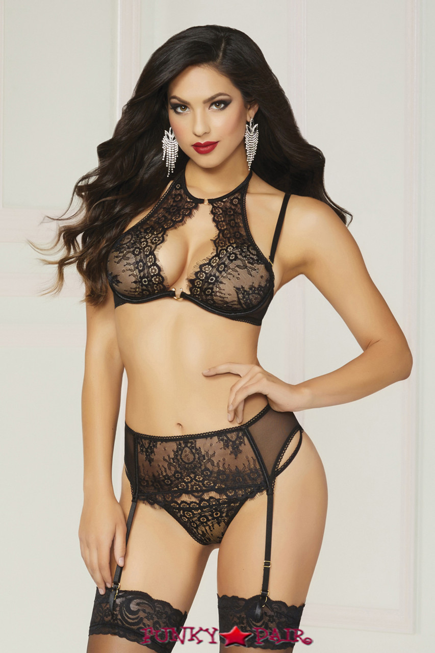 47f618d91e0 Exotic Lace Affair Garter Belt With Adjustable Back Satin Bow With Thong  Black Intimates   Sleep