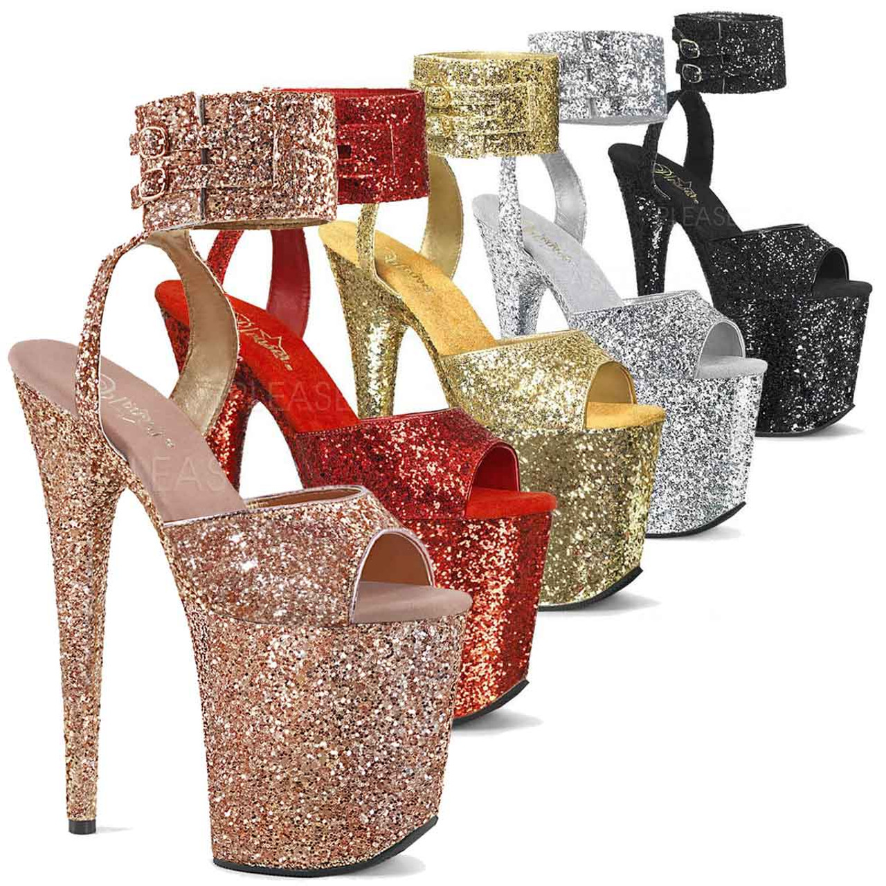 Pleaser FLAMINGO-874 Women/'s Silver Glitter Frosted Platform Ankle Strap Sandals