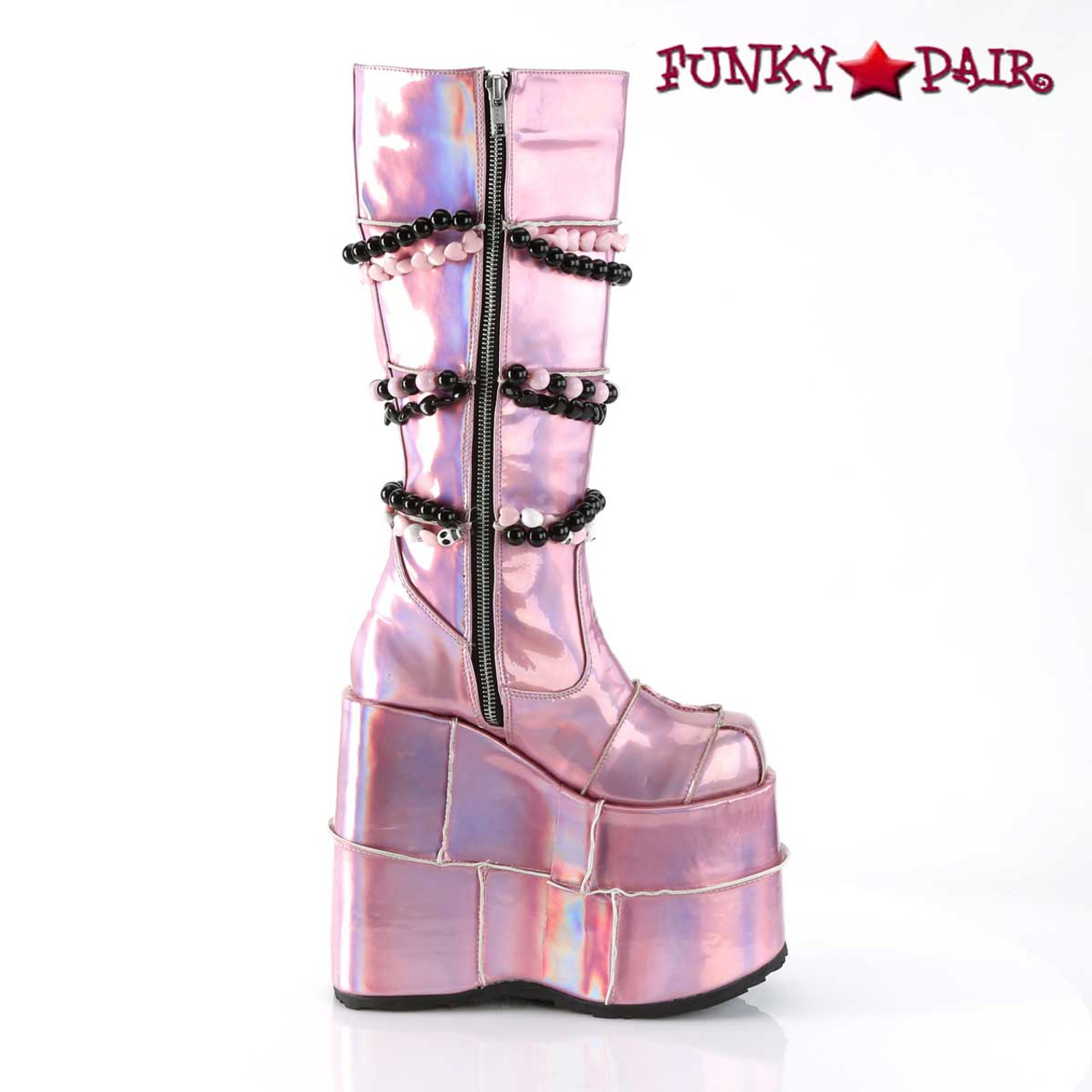 Demonia Slay 301 Women S Platform Knee High Pink Boots
