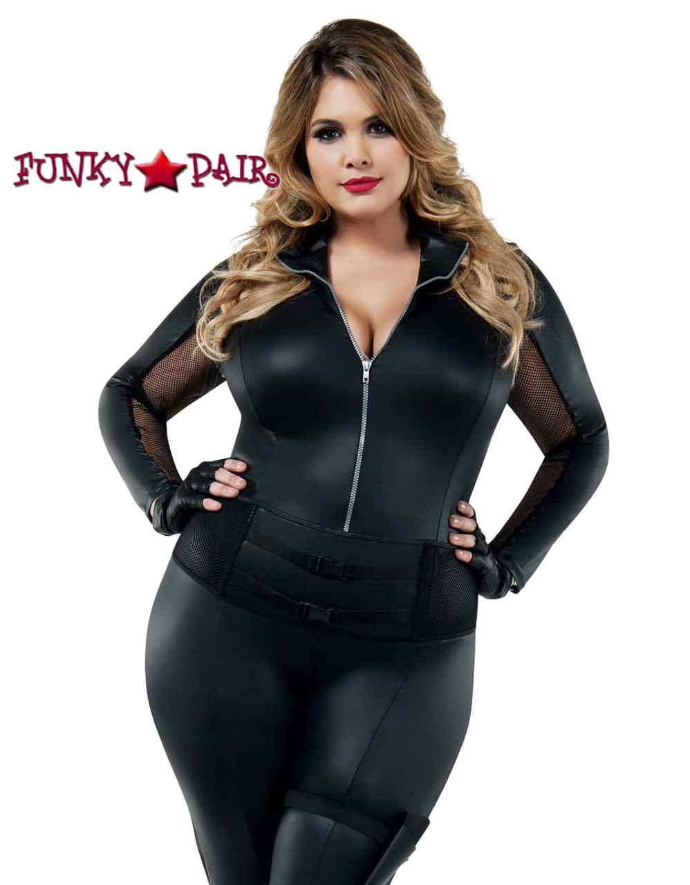 Catsuit Wetlook with Gloves and Socks Integrated Openings Chest Inseam