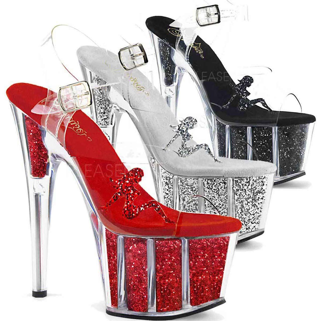 e967c194ea Pleaser   Adore-708GTG, Trucker Girl Platform Sandal with Glitter Color  Available: Red ...