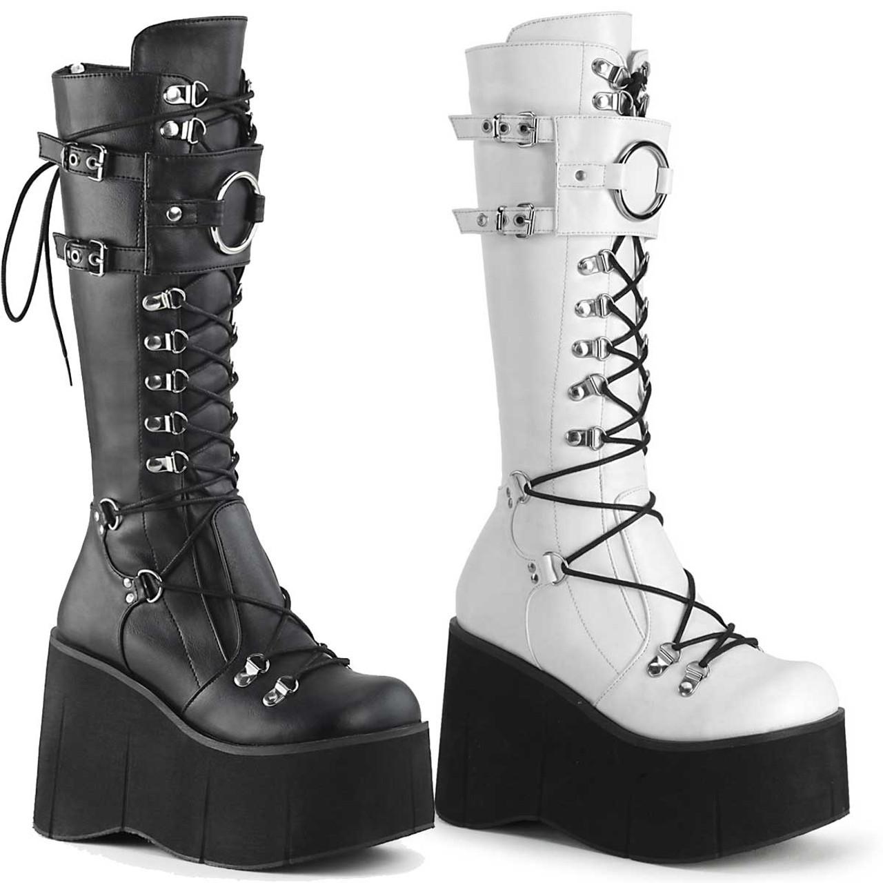 Platform Lace-up Knee High Boots