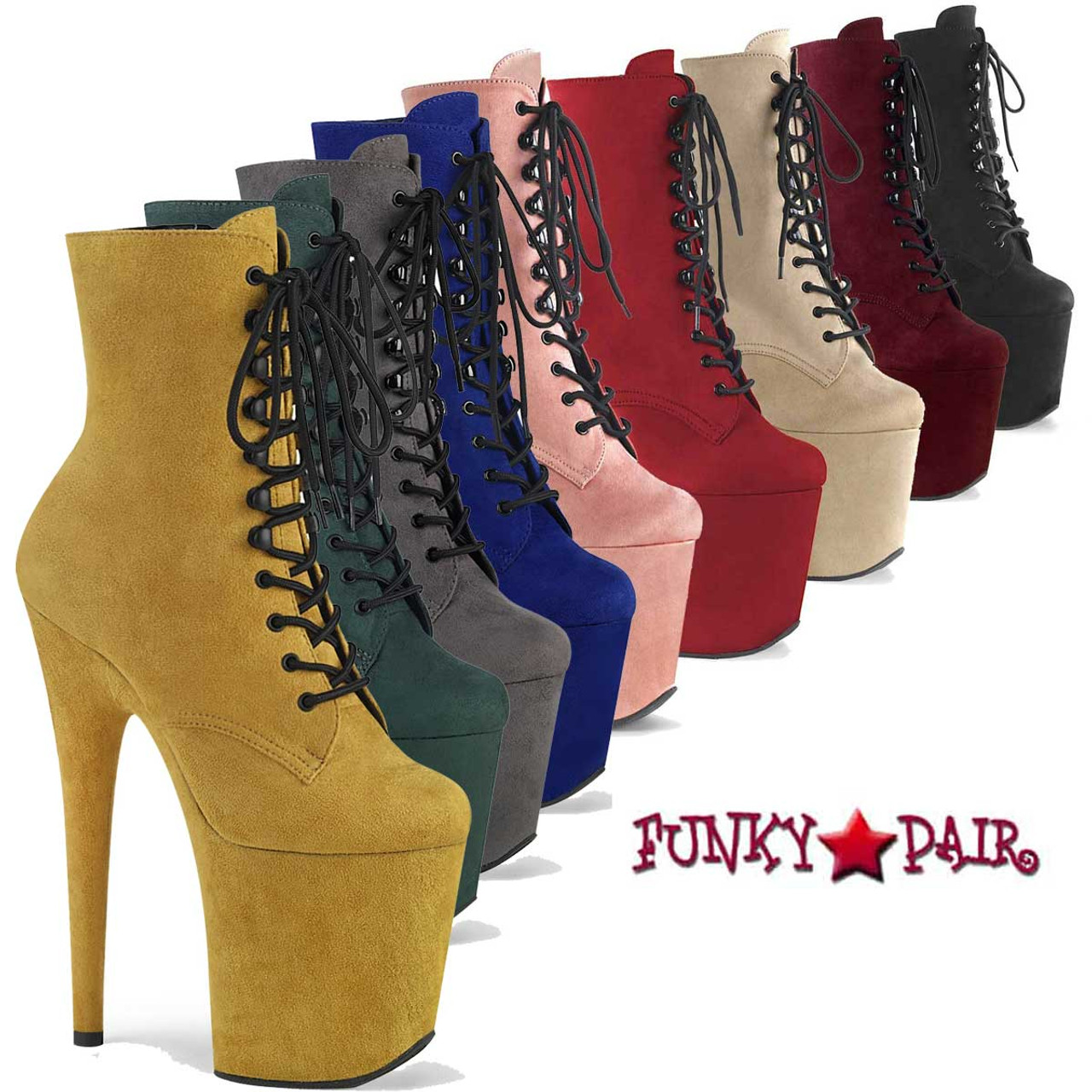 8 Inch Faux Suede Stripper Ankle Boots